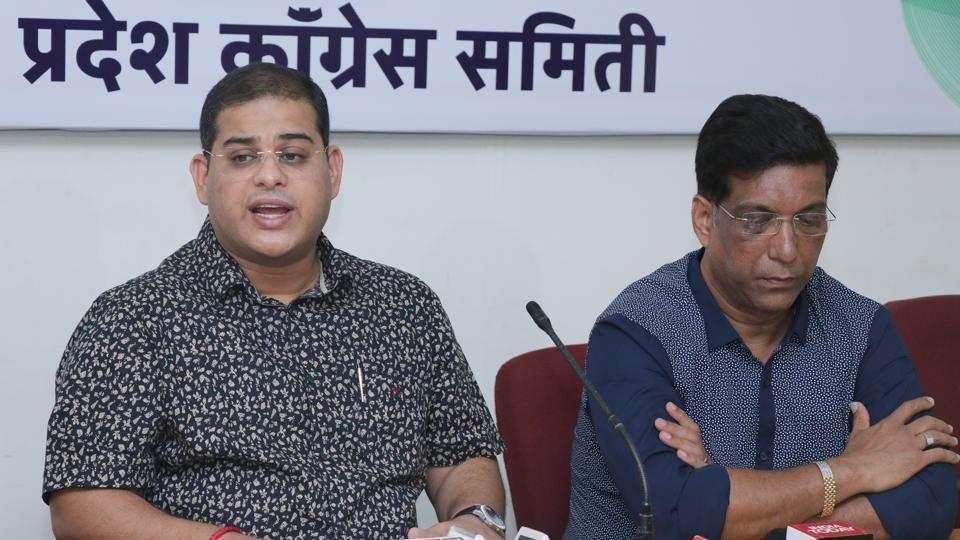 Goa Congress spokesperson Yatish Naik and former Congress MLA Agnello Fernandes addressing the media in Panaji on May 17.