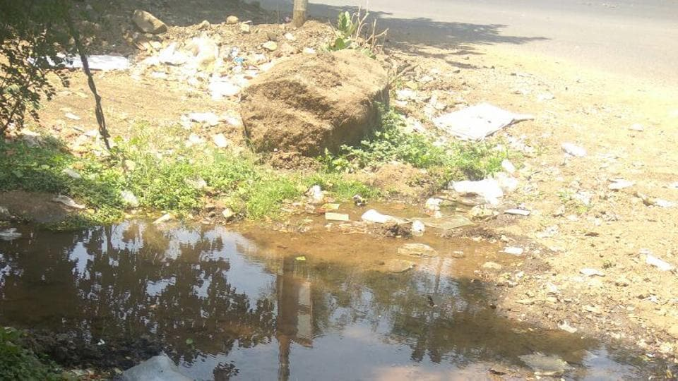 A leaking water pipeline has turned Telco road in Bhosari into a muddy mess.