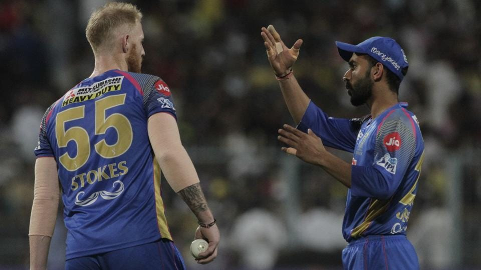 Rajasthan Royals captain Ajinkya Rahane, right, and their most expensive player Ben Stokes have been inconsistent in IPL 2018