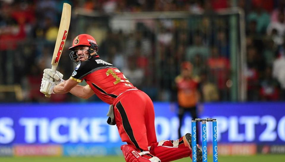 AB de Villiers in action during match fifty one of the 2018 Indian Premier League between Royal Challengers Bangalore and Sunrisers Hyderabad at the M. Chinnaswamy Stadium.