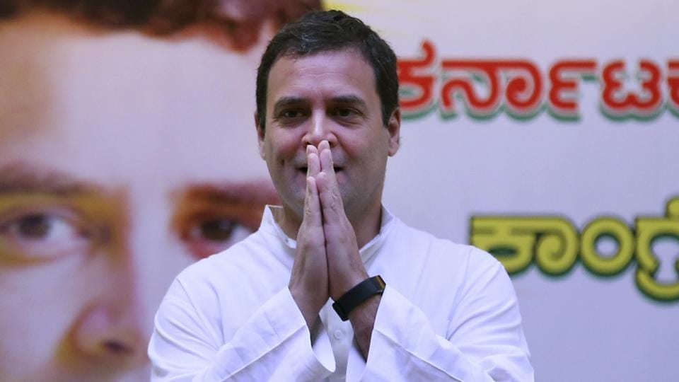 """Congress president Rahul Gandhi said the BJP's irrational insistence"""" that it will form a government in Karnataka despite the numbers was """"a mockery of our Constitution""""."""