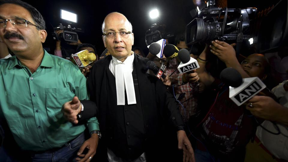 Senior Congress leader Abhishek Singhvi arrives at Supreme Court for the hearing of Congress & JD(S) petition challenging Karnataka Governor's decision in New Delhi on Thursday.