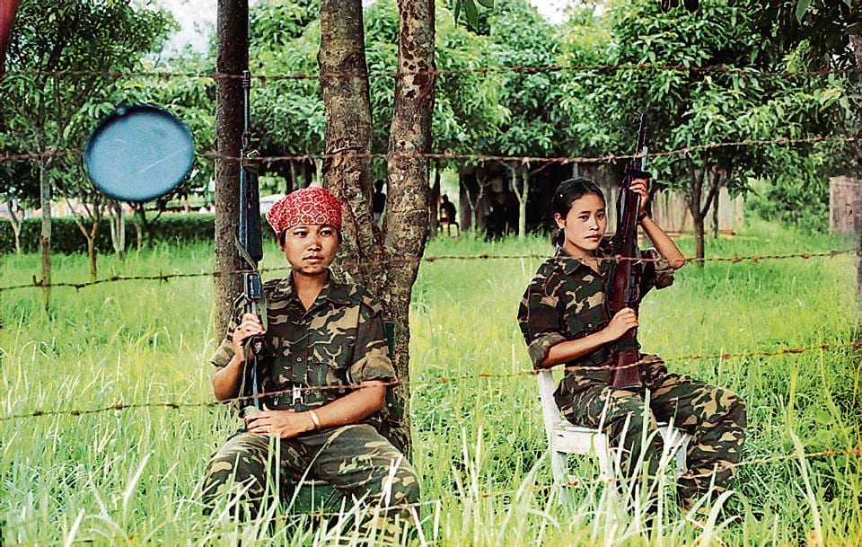 Women guards at the venue of a council meeting of the National Socialist Council of Nagalim (NSCN) in May 1999.
