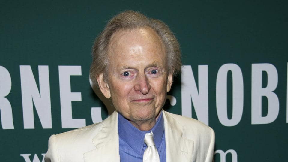 A file photo of Tom Wolfe at a book signing for his novel Back to Blood, New York