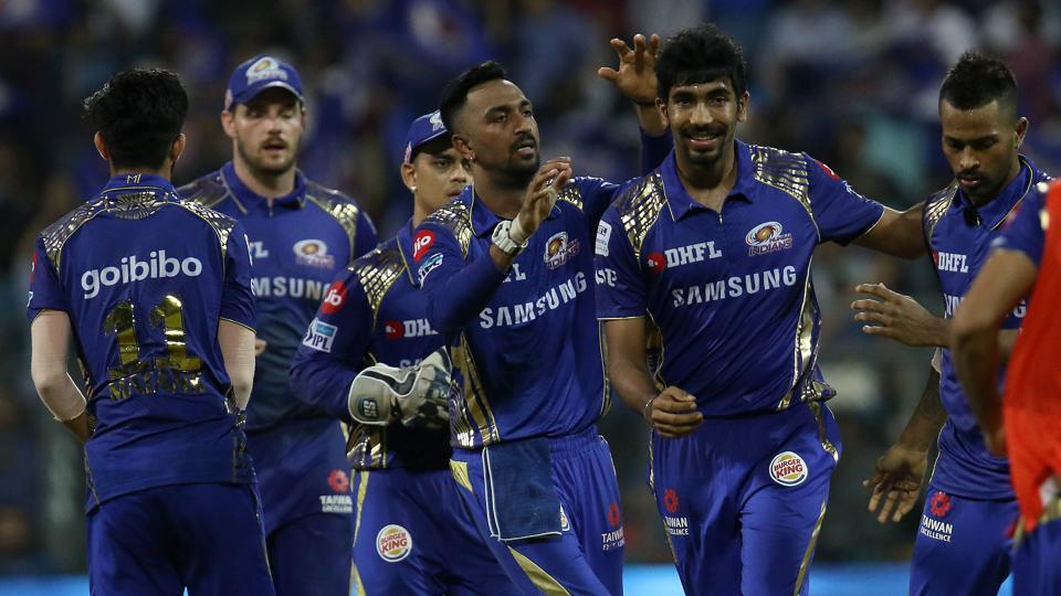 Jasprit Bumrah was Mumbai Indians' best bowler as he picked three for  15 runs. With the win, MI now have 12 points in 13 games. KXIP also have same points but their run-rate is less. (BCCI)