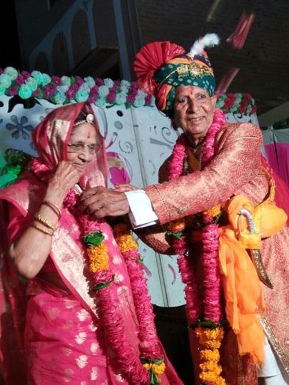 Chetan Gehlot, 86, and Kamla Devi, 82, tie the knot again in Bikaner on their 75th wedding anniversary.