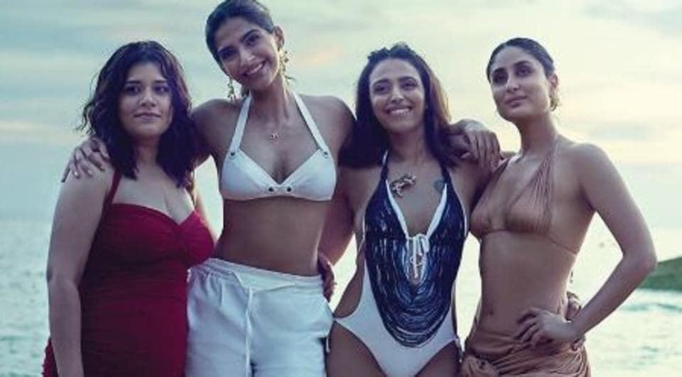 Veere Di Wedding poster shows Kareena Kapoor Khan, Swara Bhaskar, Sonam Kapoor and Shikha Talsania on a trip to Thailand.