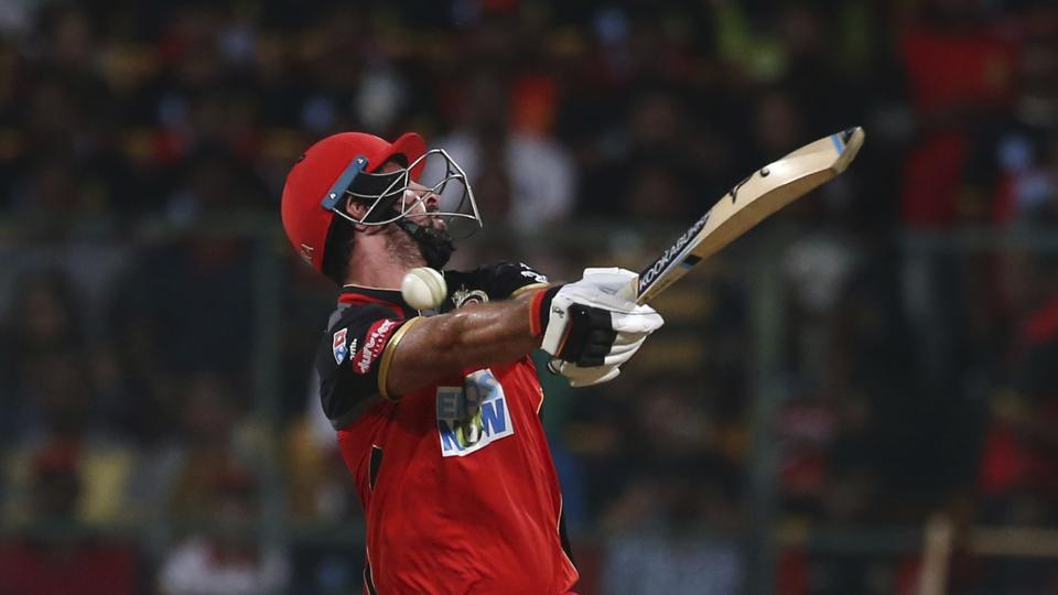 Royal Challengers Bangalore's Colin de Grandhomme attempts to play a shot during the VIVO IPL Twenty20 cricket match against Sunrisers Hyderabad in Bangalore, Karnataka, on May 17, 2018. (Aijaz Rahi / AP)