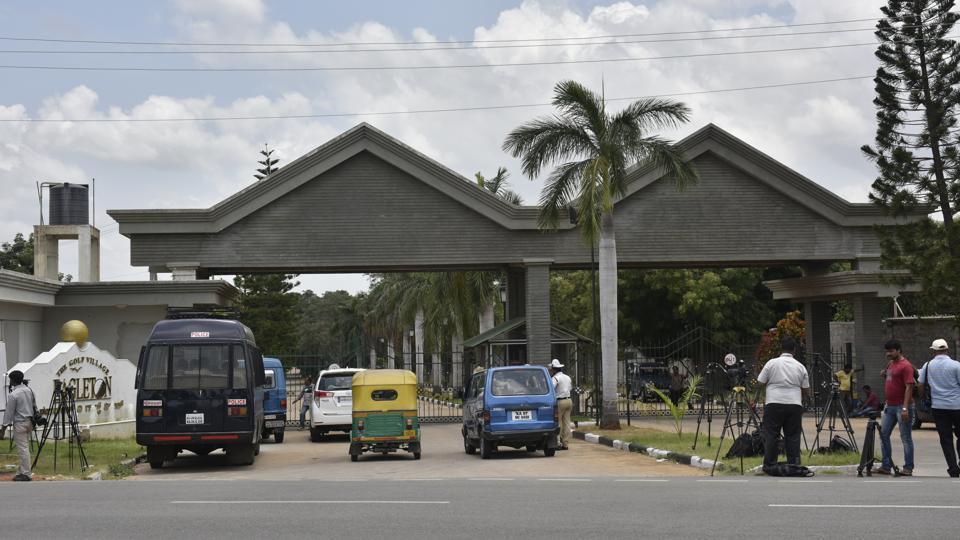 Police standing outside Eagleton resort near Bengaluru where Congress MLAs are being kept.