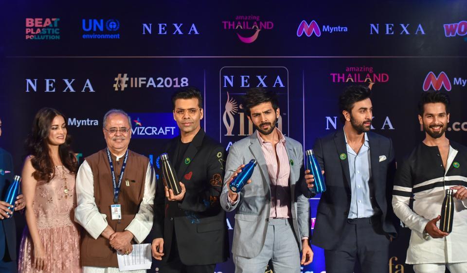 Dia Mirza, Karan Johar, Kartik Aaryan, Ranbir Kapoor and Shahid Kapoor during a press conference for 19th Edition of IIFA Weekend & Awards 2018.