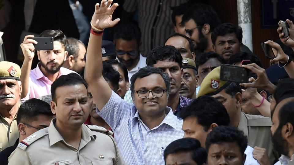 Karti Chidambaram, son of Former Finance Minister P. Chidambaram at Patiala House Court in connection with the INX Media money laundering case, in New Delhi.