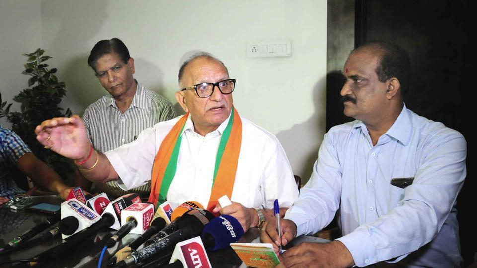 MLA and outgoing state BJP president Ashok Parnami at a press conference in Jaipur on Friday.