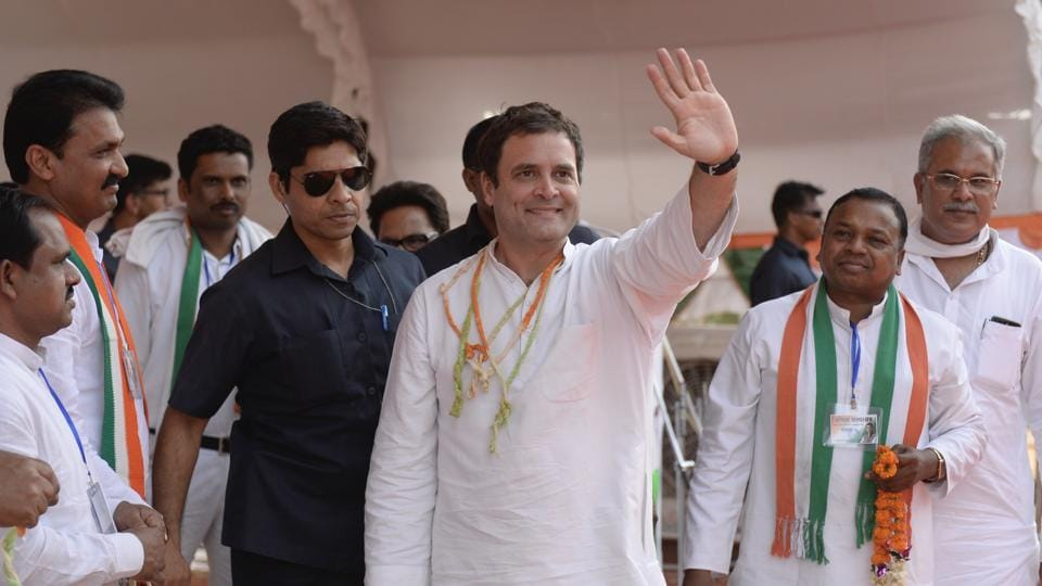 Congress president Rahul Gandhi during Jungle Satyagraha Adivasi rally, at Pendra in Bilaspur, Chhattisgarh on  May 17, 2018.