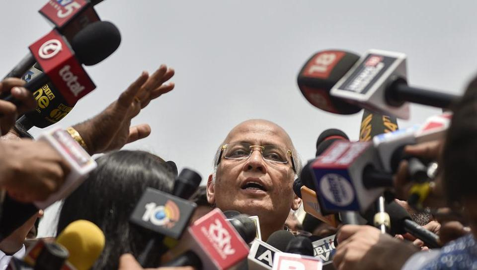Senior Congress leader and advocate Abhishek Manu Singhvi addresses the media after a hearing in Karnataka government formation case at Supreme Court in New Delhi on Friday. The Supreme Court has ordered that a floor test be conducted in the Karnataka Assembly on Saturday for BJP's BS Yeddyurappa to prove his majority. (Ravi Choudhary / PTI)