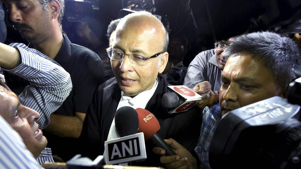 Senior Congress leader Abhishek Singhvi arrives at Supreme Court for the hearing of a petition challenging Karnataka Governor's decision, in New Delhi.