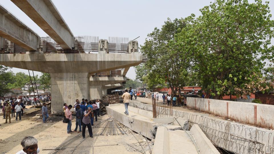 The area where the flyover collapsed in Varanasi, Uttar Pradesh.
