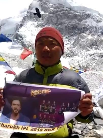 Wangdi Bhutia showed his support for IPL franchise Kolkata Knight Riders from Mount Everest base camp.