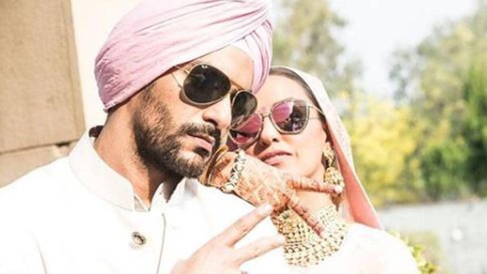 Neha Dhupia and Angad Bedi married in Delhi last week.