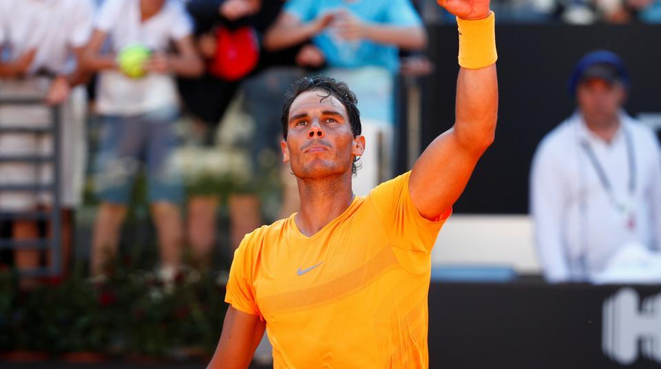 Spain's tennis ace Rafael Nadal celebrates winning his semi-final against Serbia's Novak Djokovic at the Italian Open in Foro Italico at Rome.
