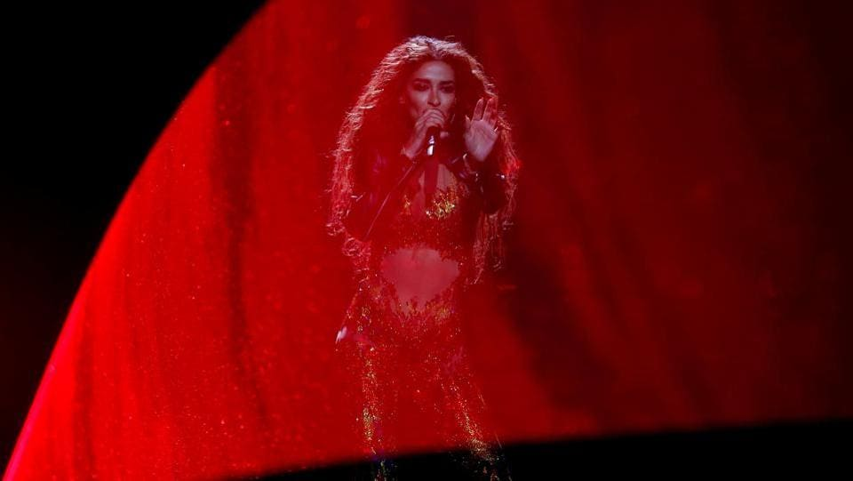 Cyprus's Eleni Foureira performs 'Fuego' during the Grand Final of Eurovision Song Contest 2018 at the Altice Arena hall in Lisbon, Portugal. (Pedro Nunes / REUTERS)