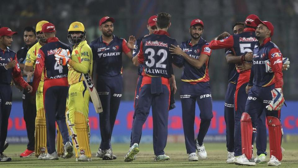 Delhi Daredevils celebrate after beating Chennai Super Kings in the IPL 2018 match in New Delhi on May 18, 2018.   (AP)