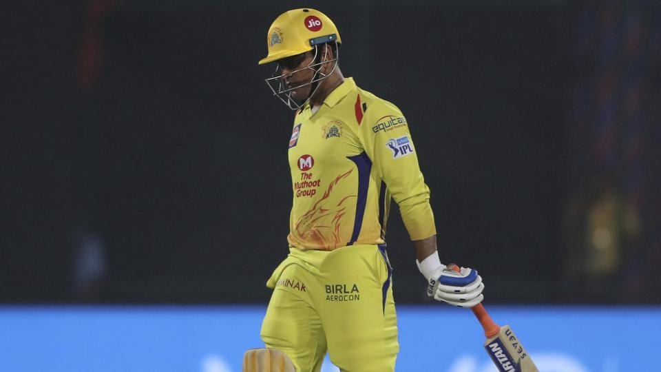 Chennai Super Kings skipper MS Dhoni walks back to the pavilion after being caught during the IPL 2018 match against Delhi Daredevils in New Delhi on May 18, 2018.