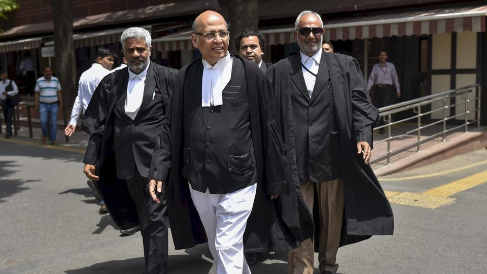 Congress leader and advocate Abhishek Manu Singhvi comes out of Supreme Court, in New Delhi, on Saturday.