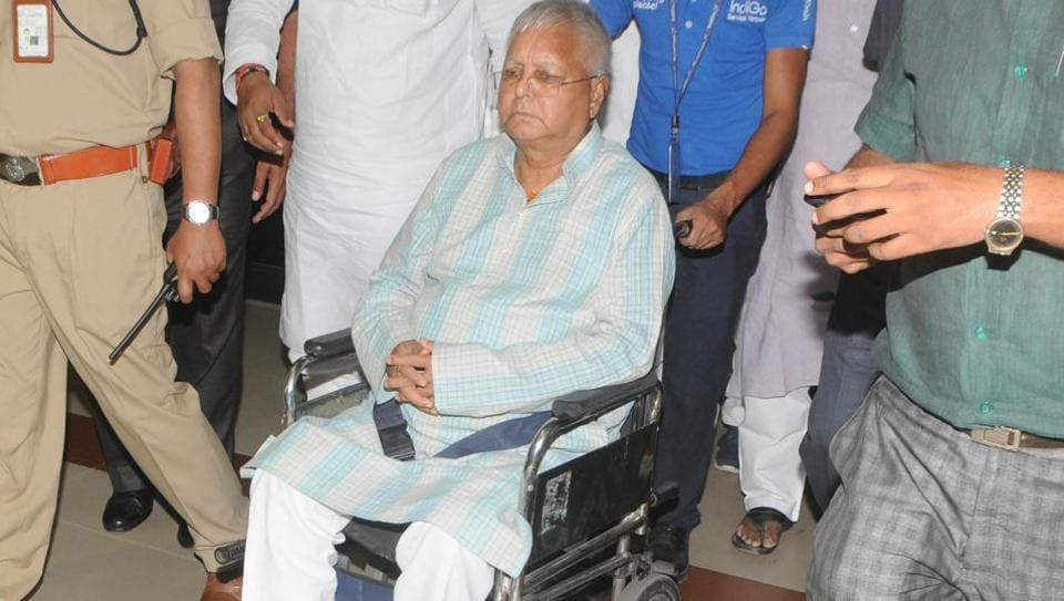 RJD leader Lalu Prasad at Jay Prakash Narayan Airport in Patna on May 16, 2018.