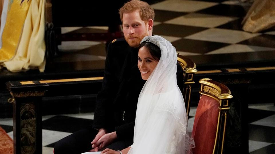 Prince Harry and Meghan Markle in St George's Chapel at Windsor Castle during their wedding service in Windsor. The royal couple have now officially wed. (Owen Humphreys / Pool / REUTERS)