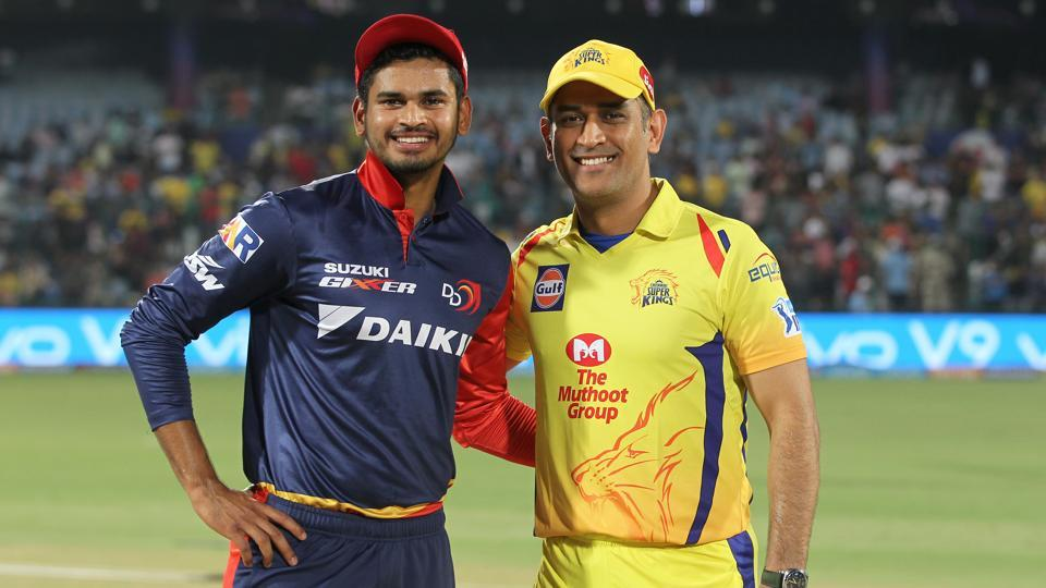 Delhi Daredevils skipper Shreyas Iyer (L) and his Chennai Super Kings counterpart MS Dhoni pose for the cameras ahead of the IPL 2018 clash between the two teams in New Delhi on Friday.