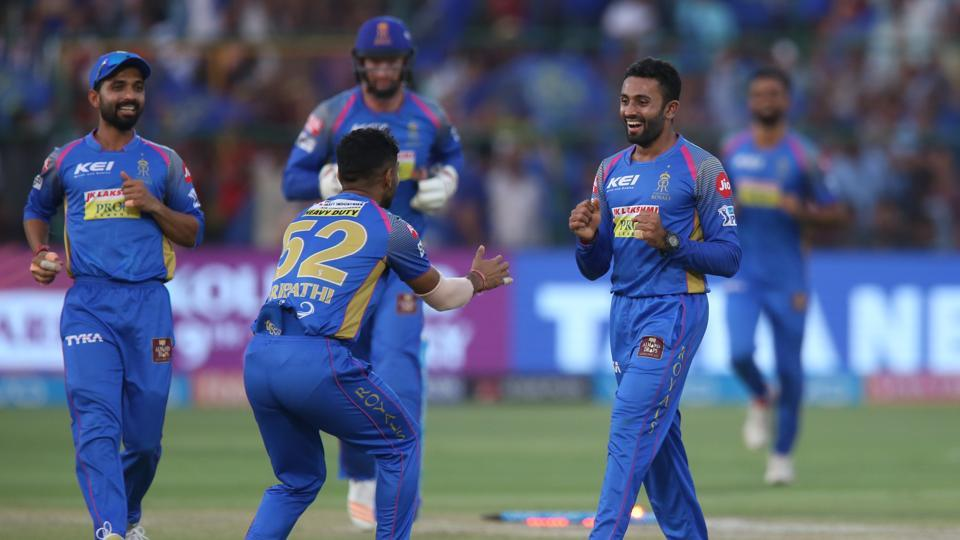 Shreyas Gopal picked up 4/16 as Royal Challengers Bangalore lost by 30 runs against Rajasthan Royals to be eliminated from the play-off race. Get full cricket score of Rajasthan Royals vs Royal Challengers Bangalore, IPL 2018 match, here