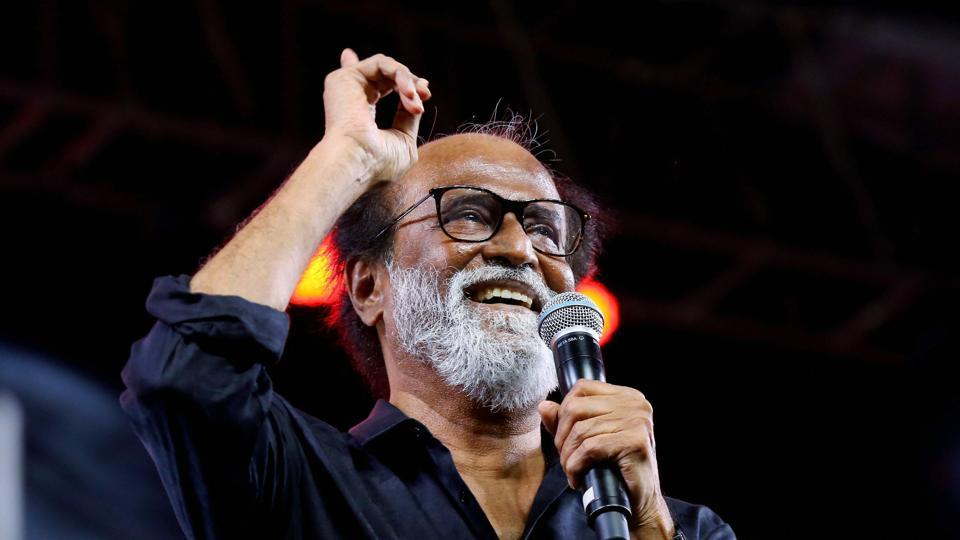 Actor Rajnikanth speaks during an event in Chennai.