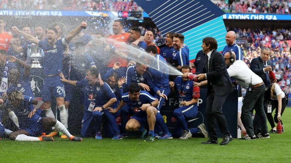 That didn't stop Conte from joining in on the celebrations.  (Action Images via Reuters)