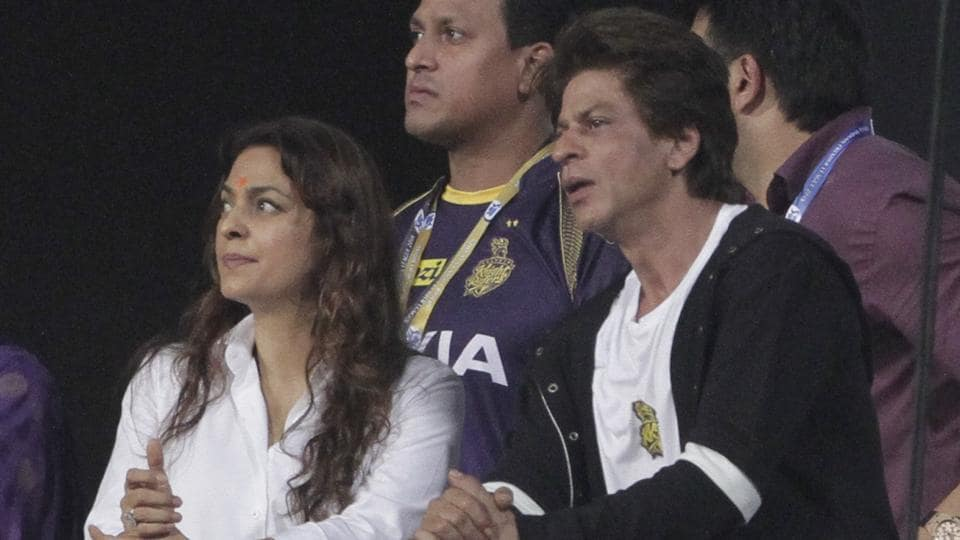 Kolkata Knight Riders co-owners Juhi Chawla (L) and Shah Rukh Khan pictured during an IPL 2018 game earlier this season.