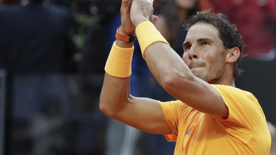 Spain's Rafael Nadal applauds supporters after beating Germany's Alexander Zverev in their final match at the Italian Open tennis tournament in Rome on Sunday.