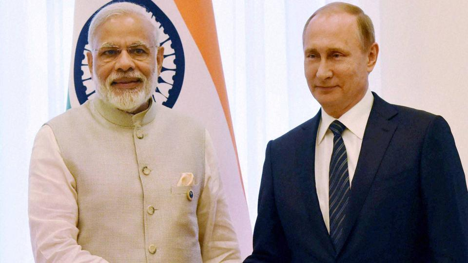 Prime Minister Narendra Modi shakes hands with Russian President Vladimir Putin during a bilateral meeting in Tashkent on June 24, 2016 on the sidelines of SCO Summit.