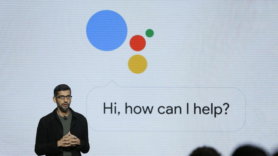 FILE - In this Tuesday, Oct. 4, 2016, file photo, Google CEO Sundar Pichai talks about Google Assistant during a product event in San Francisco. Google is likely to again put artificial intelligence in the spotlight at its annual developers conference, Thursday, May 10, 2018. (AP Photo/Eric Risberg, File)