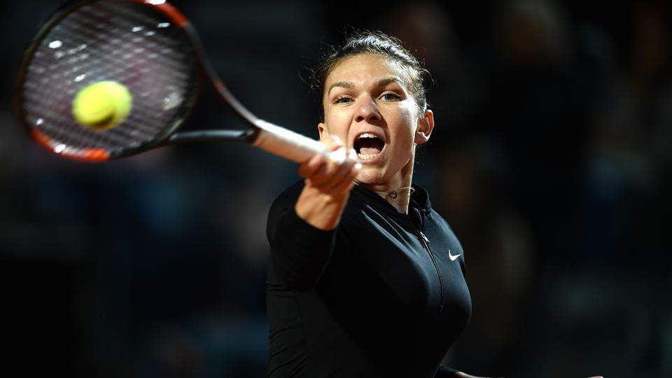 Simona Halep beat Maria Sharapova in the semi-final of the Italian Open in Rome on May 19, 2018.