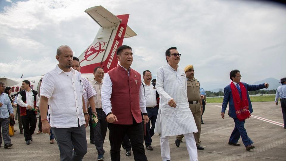Arunachal Pradesh chief minister Pema Khandu at Pasighat airport on Monday.