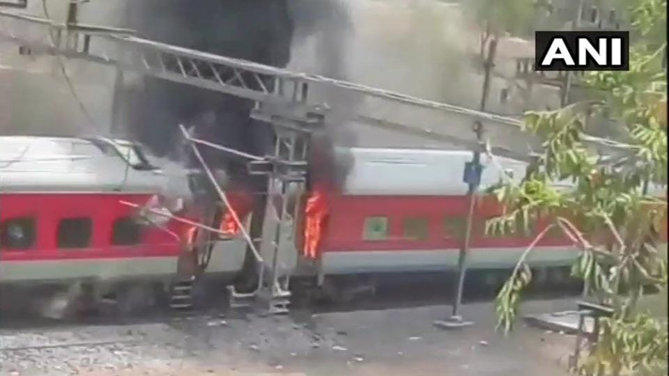 The Andhra Pradesh AC Superfast Express that caught fire near Birlanagar station in Gwalior on Monday.