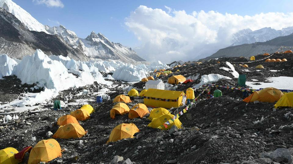 Tents are seen at Everest base camp. Hauling clients and equipment to the top of the 8,848-metre mountain, Sherpas are the backbone of the industry. But while the number of Everest climbers has more than doubled in two decades, the Sherpa supply has not kept pace. (Prakash Mathema / AFP)