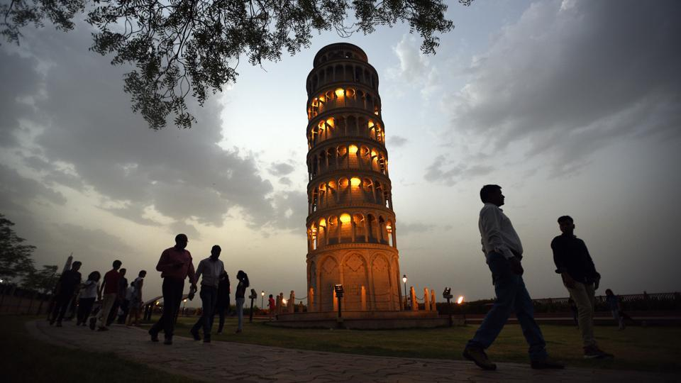 The Leaning Tower of Pisa stands on firmer ground, at least here in Kota. The park was also constructed as an attraction for the 1.25 lakh students who land up in the city every year for coaching and their families. (Raj K Raj / HT Photo)