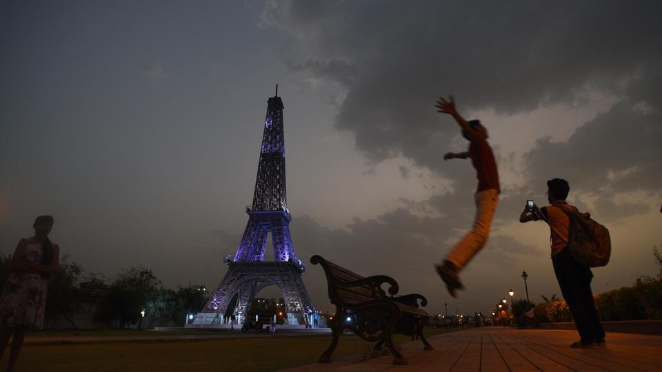 A trip to the Eiffel Tower in Paris, France might still take some saving up, but the Rs 10 and Rs 5 entry fee for adults and children respectively is all it takes here in Kota. (Raj K Raj / HT Photo)