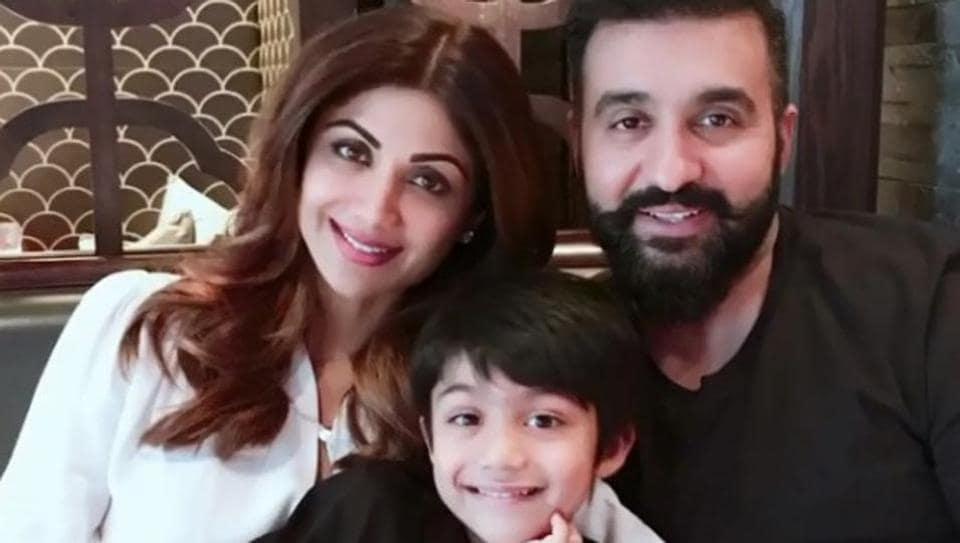 Portrait of a happy family -- Shilpa Shetty with son Viaan and husband Raj Kundra.