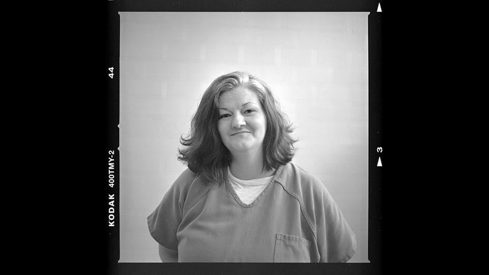 "Crystal French, 38, is photographed in her cell. ""I got to know the real me again instead of the addicted to drugs person. I had a lot of anger issues before. I'm working on them still. I'd like to be a productive citizen, not an OD statistic, end up dying on drugs. I am a good person. I know I am. But I want to see that person again."" (David Goldman / AP)"