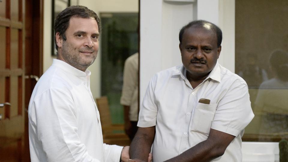 Congress president Rahul Gandhi along with Karnataka CM designate HD Kumaraswamy at New Delhi.