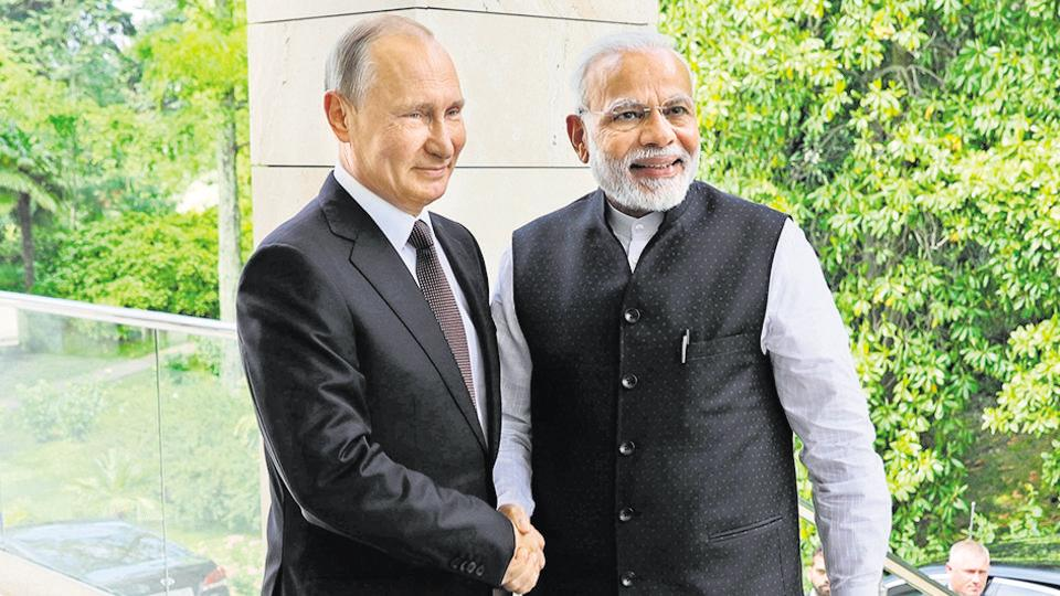 Prime Minister Narendra Modi with Russian President Vladimir Putin, during their meeting in the Bocharov Ruchei residence in the Black Sea resort of Sochi, Russia, May 21, 2018