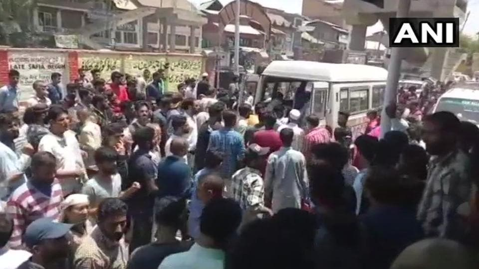 Civilians who were injured in the grenade blast being taken to a hospital inJammu and Kashmir's Bijbehara town.