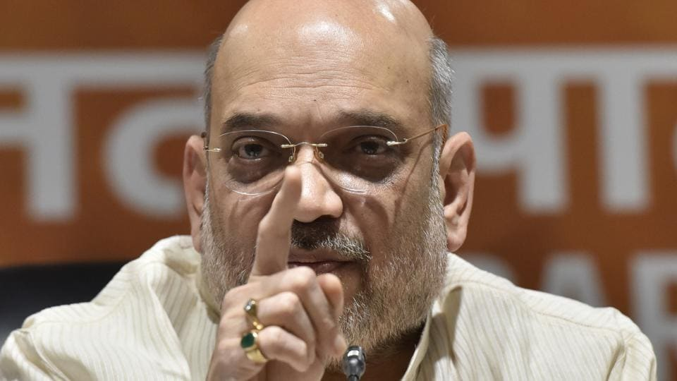 BJP national president Amit Shah addresses a press conference in New Delhi.
