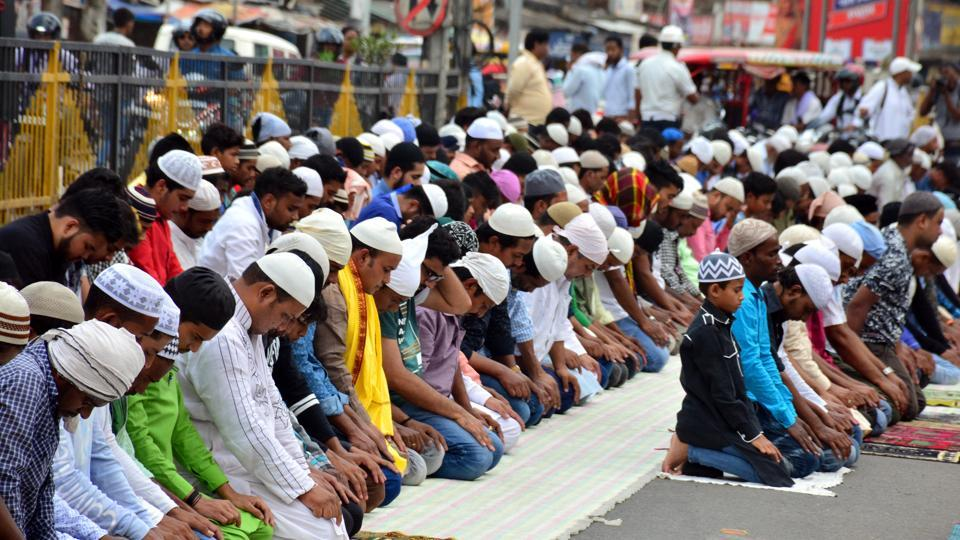 People offer namaz on the first Friday of the holy month ramzan, Eqra Masjid, Ranchi, May 18, 2018